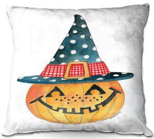Decorative Outdoor Patio Pillow Cushion | Marley Ungaro - Pumpkin Witch | halloween spooky holidays
