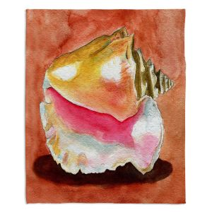 Decorative Fleece Throw Blankets | Marley Ungaro - Queen Conch | Ocean seashell still life nature