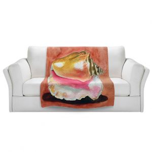 Artistic Sherpa Pile Blankets | Marley Ungaro - Queen Conch | Ocean seashell still life nature