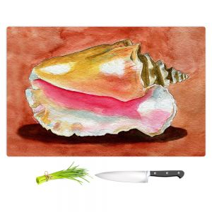 Artistic Kitchen Bar Cutting Boards | Marley Ungaro - Queen Conch | Ocean seashell still life nature