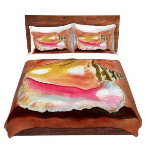 Artistic Duvet Covers and Shams Bedding | Marley Ungaro - Queen Conch | Ocean seashell still life nature