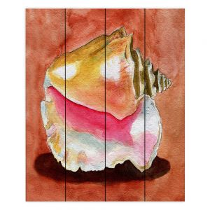 Decorative Wood Plank Wall Art | Marley Ungaro - Queen Conch | Ocean seashell still life nature