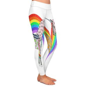 Casual Comfortable Leggings | Marley Ungaro - Rainbow Unicorn White