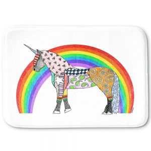 Decorative Bathroom Mats | Marley Ungaro - Rainbow Unicorn White