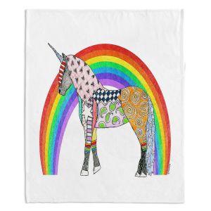 Decorative Fleece Throw Blankets   Marley Ungaro - Rainbow Unicorn White