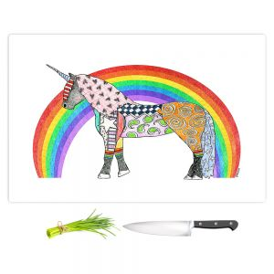 Artistic Kitchen Bar Cutting Boards   Marley Ungaro - Rainbow Unicorn White