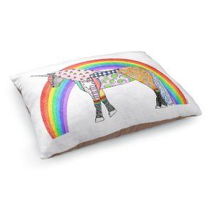 Decorative Dog Pet Beds | Marley Ungaro - Rainbow Unicorn White
