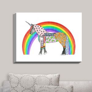 Decorative Canvas Wall Art | Marley Ungaro - Rainbow Unicorn White | Rainbows Unicorns Colorful Mystical Funky