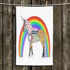 Unique Bathroom Towels   Marley Ungaro - Rainbow Unicorn White