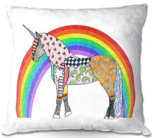 Throw Pillows Decorative Artistic | Marley Ungaro - Rainbow Unicorn White