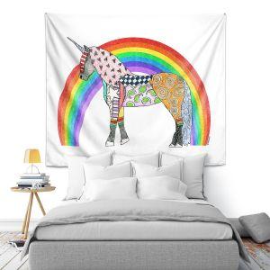 Artistic Wall Tapestry | Marley Ungaro - Rainbow Unicorn White