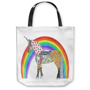 Unique Shoulder Bag Tote Bags |Marley Ungaro - Rainbow Unicorn White