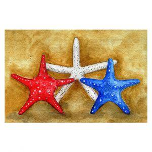 Decorative Floor Covering Mats | Marley Ungaro - Red White Blue Seastars | Ocean seashell still life nature