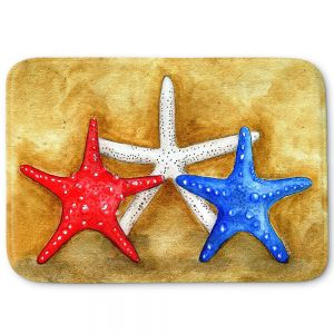 Decorative Bathroom Mats | Marley Ungaro - Red White Blue Seastars | Ocean seashell still life nature