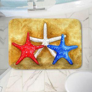 Decorative Bathroom Mats | Marley Ungaro - Red White Blue Seastars | Ocean seashell still life nature
