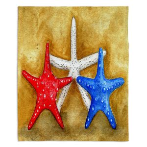 Decorative Fleece Throw Blankets | Marley Ungaro - Red White Blue Seastars | Ocean seashell still life nature