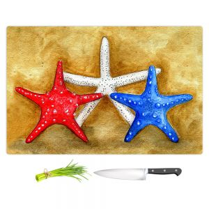 Artistic Kitchen Bar Cutting Boards | Marley Ungaro - Red White Blue Seastars | Ocean seashell still life nature