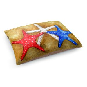 Decorative Dog Pet Beds | Marley Ungaro - Red White Blue Seastars | Ocean seashell still life nature
