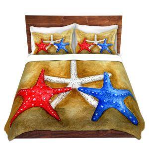 Artistic Duvet Covers and Shams Bedding | Marley Ungaro - Red White Blue Seastars | Ocean seashell still life nature