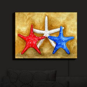 Nightlight Sconce Canvas Light | Marley Ungaro - Red White Blue Seastars