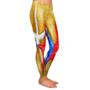 Casual Comfortable Leggings | Marley Ungaro - Red White Blue Seastars | Ocean seashell still life nature