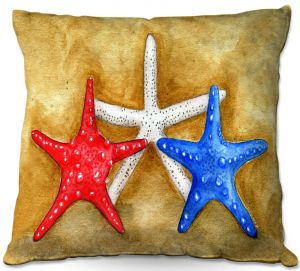 Decorative Outdoor Patio Pillow Cushion | Marley Ungaro - Red White Blue Seastars | Ocean seashell still life nature