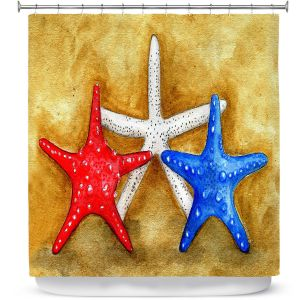 Premium Shower Curtains | Marley Ungaro - Red White Blue Seastars | Ocean seashell still life nature