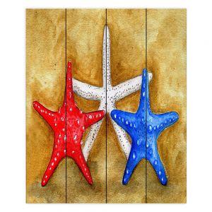 Decorative Wood Plank Wall Art | Marley Ungaro - Red White Blue Seastars | Ocean seashell still life nature