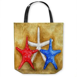 Unique Shoulder Bag Tote Bags | Marley Ungaro - Red White Blue Seastars | Ocean seashell still life nature