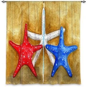 Decorative Window Treatments | Marley Ungaro - Red White Blue Seastars | Ocean seashell still life nature