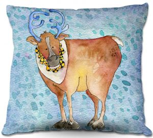 Decorative Outdoor Patio Pillow Cushion | Marley Ungaro - Reindeer Blue