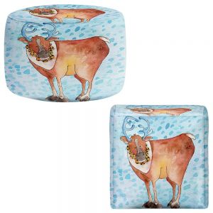 Round and Square Ottoman Foot Stools | Marley Ungaro - Reindeer Blue