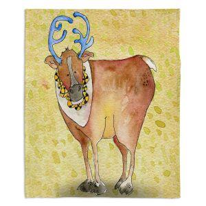 Decorative Fleece Throw Blankets | Marley Ungaro - Reindeer Chartreuse