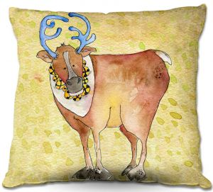 Throw Pillows Decorative Artistic | Marley Ungaro Reindeer Chartreuse