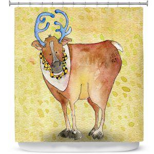 Premium Shower Curtains | Marley Ungaro Reindeer Chartreuse