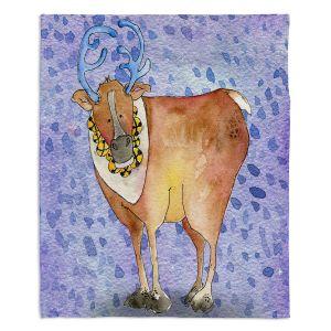 Decorative Fleece Throw Blankets | Marley Ungaro - Reindeer Purple