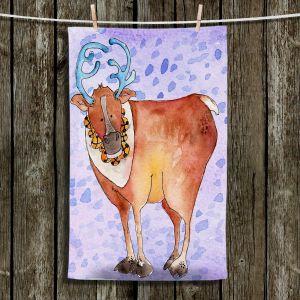 Unique Hanging Tea Towels | Marley Ungaro - Reindeer Purple | Santa Christmas
