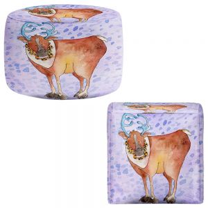 Round and Square Ottoman Foot Stools | Marley Ungaro - Reindeer Purple