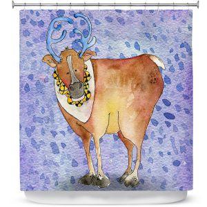 Premium Shower Curtains | Marley Ungaro Reindeer Purple