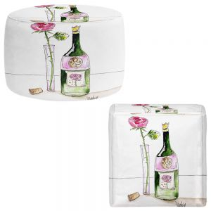 Round and Square Ottoman Foot Stools | Marley Ungaro - Rose Wine