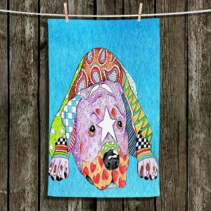Unique Hanging Tea Towels | Marley Ungaro - Rottweiller Dog Aqua | Abstract Colorful Rottweiler