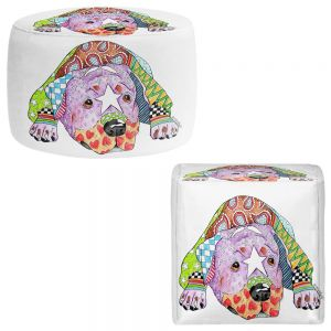 Round and Square Ottoman Foot Stools   Marley Ungaro - Rottweiller Dog White