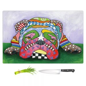 Artistic Kitchen Bar Cutting Boards | Marley Ungaro - Sad Blue English Bulldog | Dog animal pattern abstract whimsical