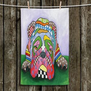 Unique Bathroom Towels   Marley Ungaro - Sad Blue English Bulldog   Dog animal pattern abstract whimsical