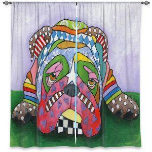 Decorative Window Treatments | Marley Ungaro - Sad Blue English Bulldog | Dog animal pattern abstract whimsical