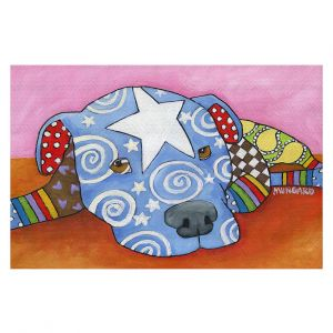 Decorative Floor Covering Mats | Marley Ungaro - Sad Blue Pitbull | Dog animal pattern abstract whimsical