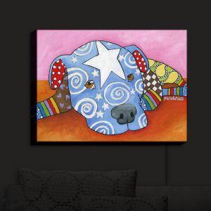 Nightlight Sconce Canvas Light | Marley Ungaro - Sad Blue Pitbull