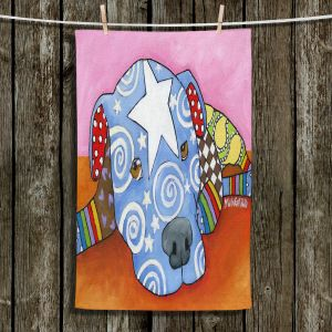Unique Hanging Tea Towels | Marley Ungaro - Sad Blue Pitbull | Dog animal pattern abstract whimsical