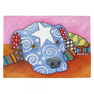 Countertop Place Mats | Marley Ungaro - Sad Blue Pitbull | Dog animal pattern abstract whimsical