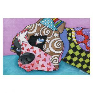 Decorative Floor Covering Mats | Marley Ungaro - Sad Boxer Dog | Dog animal pattern abstract whimsical